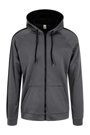 Pulover AWDis Sports Polyester Zoodie Steel Grey/Jet Black