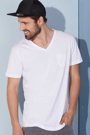 Majica kratek rokav J&N Men's Organic V-Neck T-Shirt with Breast Pocket