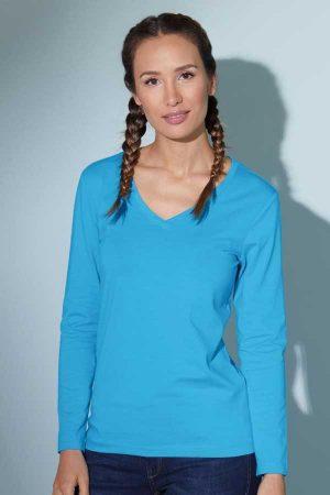 Ženska majica dolg rokav J&N Ladies' Stretch V-Neck T-Shirt Long-Sleeve