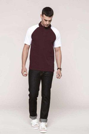 Polo majica kratek rokav Kariban Baseball Short Sleeved Polo Shirt