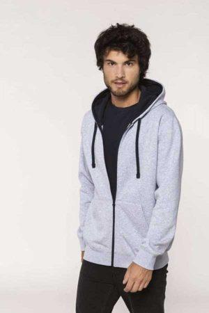 Pulover Kariban Men's Contrast Hooded Full Zip Sweatshirt