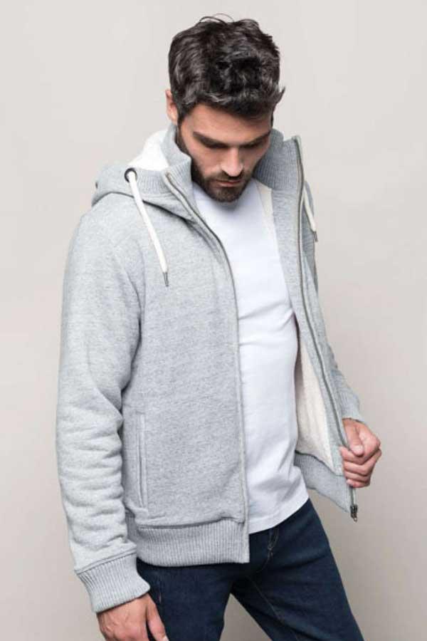 Pulover Kariban Vintage Sherpa-Lined Fleece Jacket
