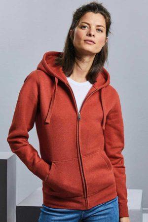 Ženski pulover Russell Ladies' Authentic Melange Zipped Hood Sweat