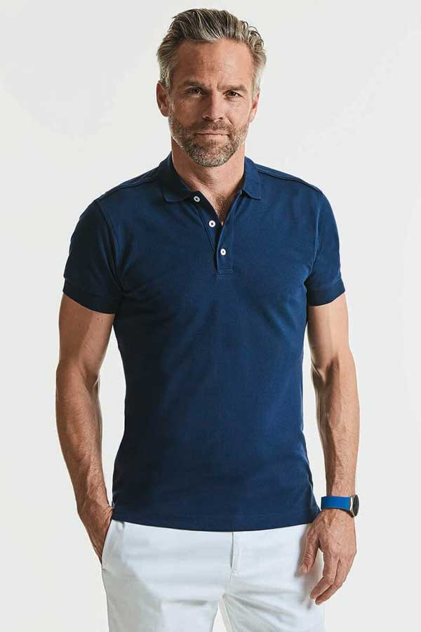 Polo majica dolg rokav Russell Men's Fitted Stretch Polo