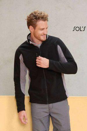 Flis Sol's Men's Two-Colour Zipped Fleece Jacket