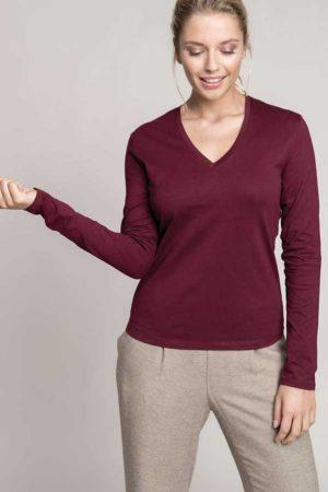 Ženska majica dolg rokav Kariban Ladies Long Sleeve V-Neck T-Shirt