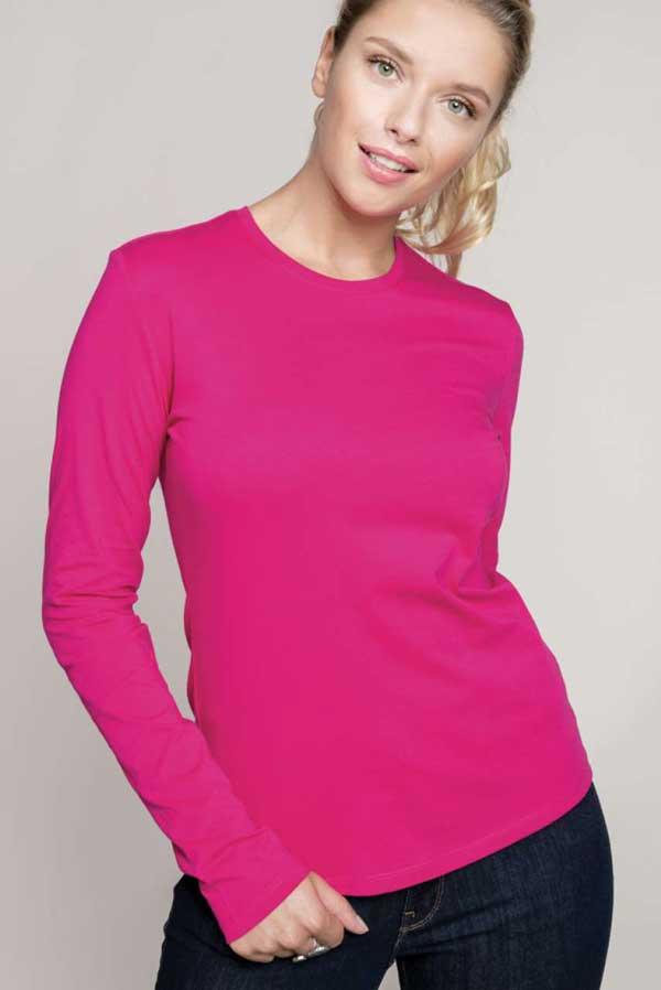 Ženska majica dolg rokav Kariban Ladies Long Sleeve Crew Neck T-Shirt