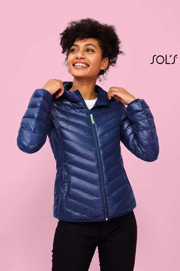 Ženska prehodna jakna Sol's Ray Women – Light Hooded Down Jacket