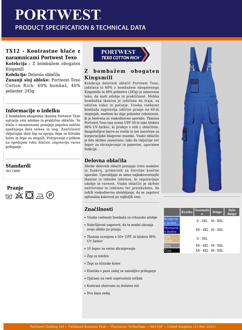 TX12 Specifikacije