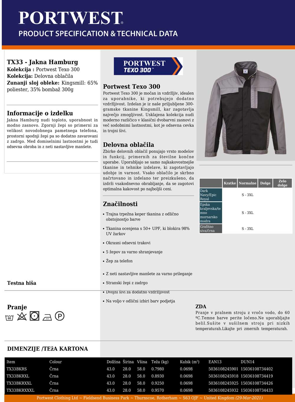 TX33 Specifikacije