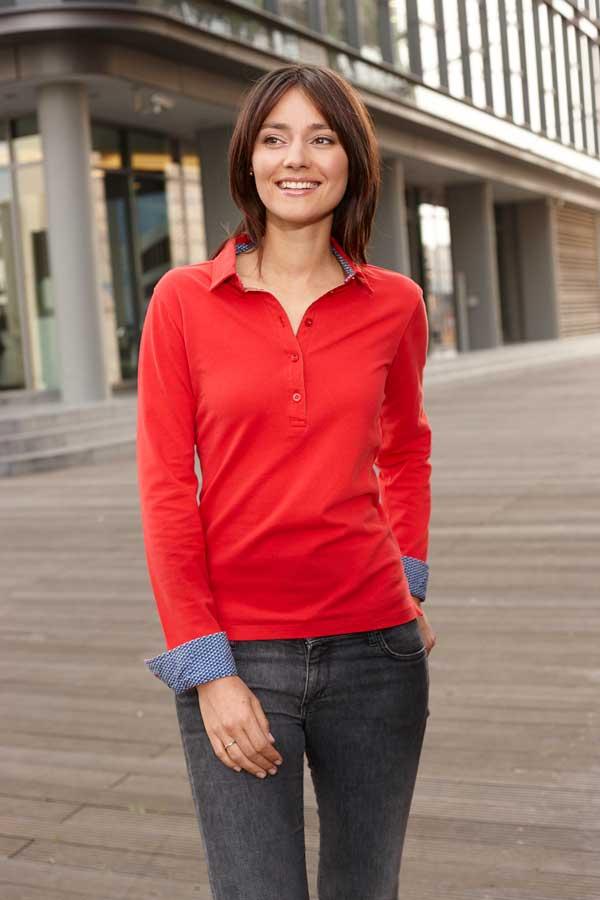 Ženska polo majica dolg rokav J&N Ladies' Polo Long-Sleeved